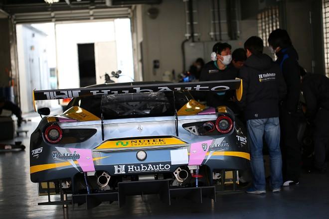 富士で走行したHubAuto Racingのフェラーリ488 GT3。RSファインがメンテナンスする
