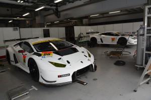 スーパーGT富士公式テスト搬入日のMANEPA Lamborghini GT3