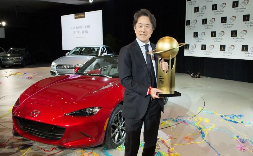 新型「マツダ ロードスター」が2016年「ワールド・カー・オブ・ザ・イヤー」「ワールド・カー・デザイン・オブ・ザ・イヤー」をダブル受賞