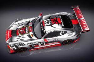 リンキン・パークカラーに彩られたブラックファルコンのメルセデスベンツAMG GT3。ドア部分にバンドメンバーの名前が入る