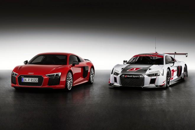 Audi R8 V10 PlusとAudi R8 LMS。Audiの市販車とレースモデルの関係は限りなく近い。