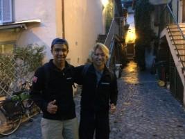 チームメイトのジェイデンとトレヴィニャーノ・ロマーノを散策