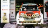 フィンランドラリー選手権第2戦で4位完走を果たしたヤルッコ・ニカラ/足立さやか組スバル・インプレッサWRX