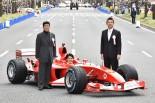 フェラーリF2003-GAをドライブした中野信治氏と橋下徹大阪市長、松井一郎大阪府知事