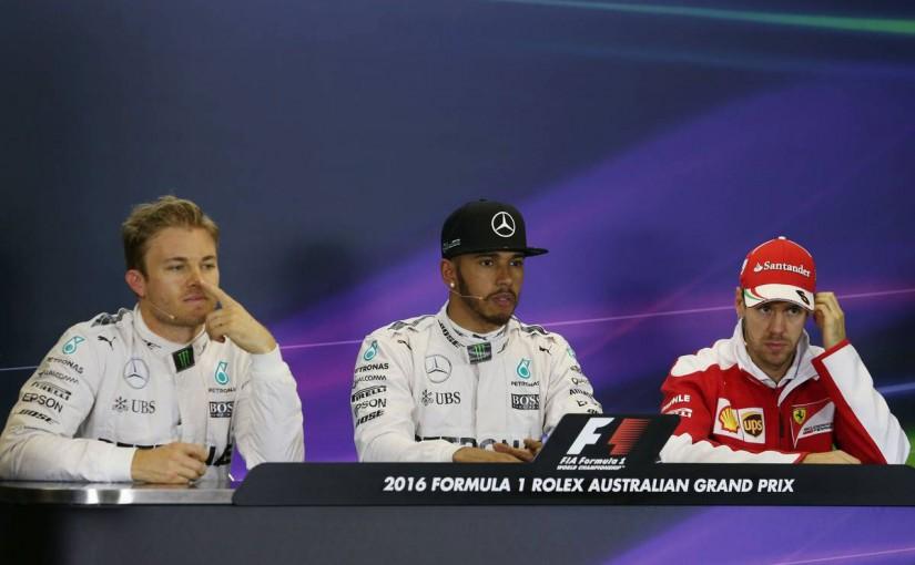 2016年F1開幕戦オーストラリアGP 予選 ニコ・ロズベルグ、ルイス・ハミルトン、セバスチャン・ベッテル