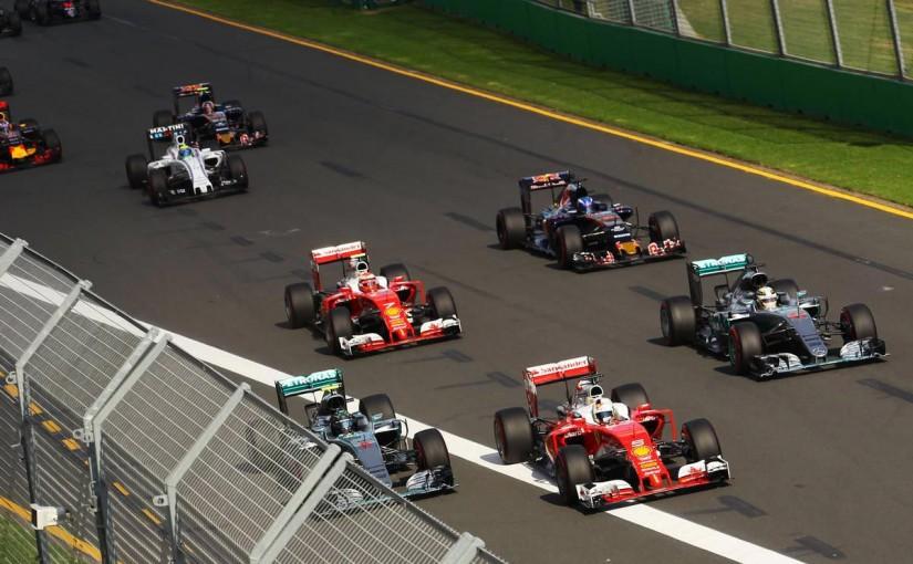 2016年第1戦オーストラリアGP 決勝レース ニコ・ロズベルグ、セバスチャン・ベッテル、ルイス・ハミルトン