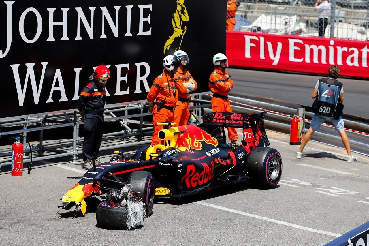 2016年第6戦モナコGP マックス・フェルスタッペン(レッドブル)が予選でクラッシュ