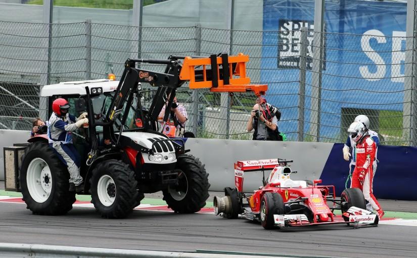 F1 | ベッテル「謎のタイヤバースト。戦略が原因じゃない」:フェラーリ オーストリア日曜