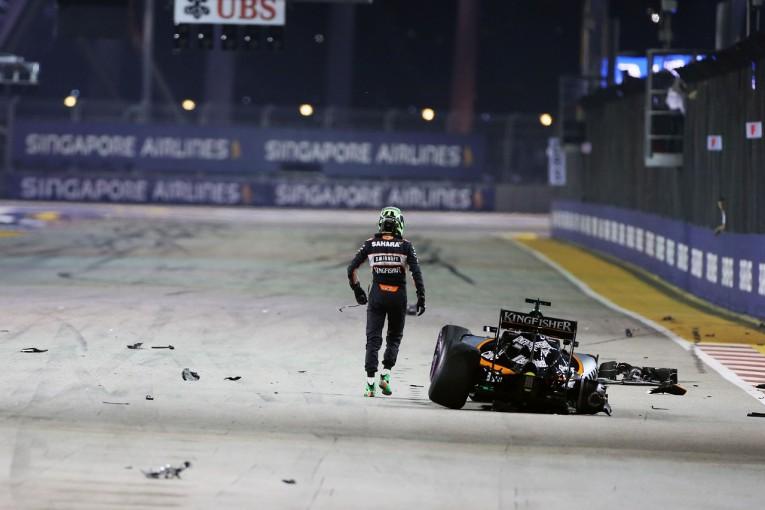 F1 | ヒュルケンベルグ「行き場をなくしバリアに弾き飛ばされた」:Fインディア シンガポール日曜