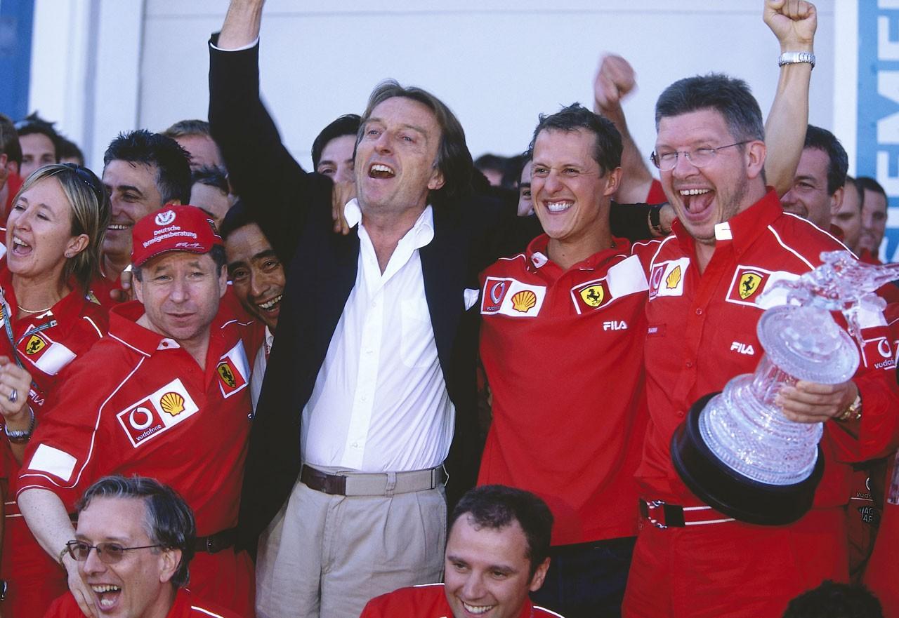 2002年フランスGP ジャン・トッド、ルカ・ディ・モンテゼモロ、ミハエル・シューマッハー、ロス・ブラウン