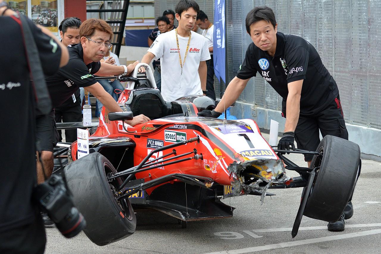 F3マカオGP:予選レースで大クラッシュの佐々木大樹に怪我はなし
