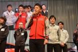 ドライバーを代表してあいさつした松田次生