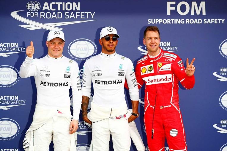 予選トップ3のハミルトン、ベッテル、ボッタス