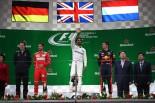 2017年F1第2戦中国GP表彰台 1位 ルイス・ハミルトン、2位 セバスチャン・ベッテル、3位 マックス・フェルスタッペン