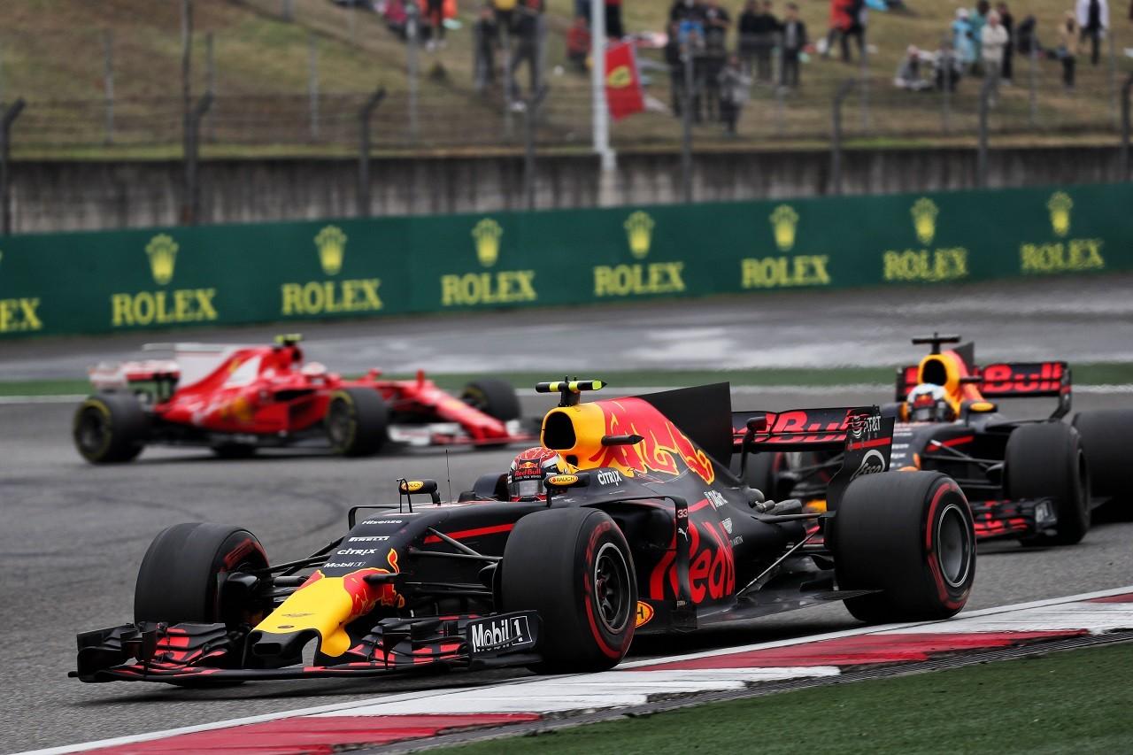 2017年F1第2戦中国GP マックス・フェルスタッペンとダニエル・リカルド(レッドブル)
