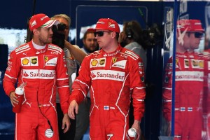 2017年F1第4戦ロシアGP PP獲得のセバスチャン・ベッテルとキミ・ライコネン(フェラーリ)