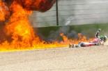 転倒しマシンが炎上したユージーン・ラバティ