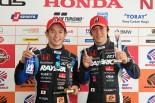 2017年のスーパーGT第3戦オートポリスでGT500クラスポールポジションを獲得した山本尚貴と伊沢拓也(RAYBRIG NSX-GT)