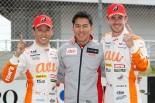 第3戦オートポリスでGT500クラスを制したLEXUS TEAM au TOM'Sの中嶋一貴(左)と伊藤大輔監督(中央)、ジェームス・ロシター(右)