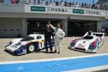 富士スピードウェイでポルシェ936(右)、956(左)でデモランしたジャッキー・イクス