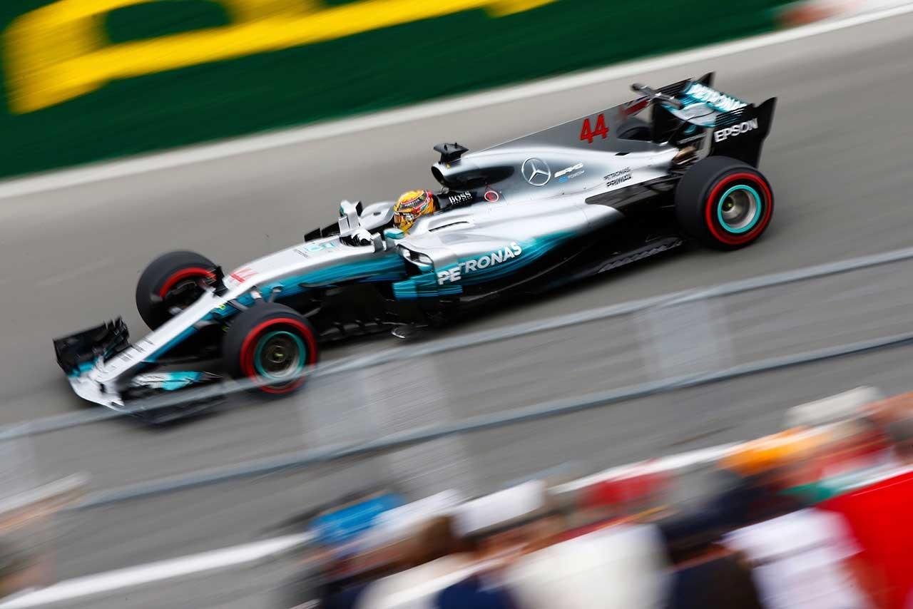 第7戦カナダGPのフリー走行1回目でトップタイムのハミルトン