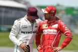 2017年F1第7戦カナダGP予選後のセバスチャン・ベッテル(フェラーリ)とルイス・ハミルトン(メルセデス)
