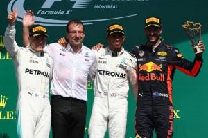 F1カナダGP表彰台 優勝はルイス・ハミルトン、2位バルテリ・ボッタス、3位ダニエル・リカルド