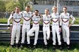 LMP1のドライバー。左から1号車のN.タンディ、A.ロッテラー、N.ジャニ。2号車のT.ベルンハルト、B.ハートレー、E.バンバー