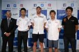 WEC第7戦富士6時間レースの発表会に登場した中嶋一貴、アンドレ・ロッテラー、小林可夢偉、澤圭太