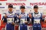 ポールポジション獲得のVivaC 86 MC/左から近藤、山下、松井