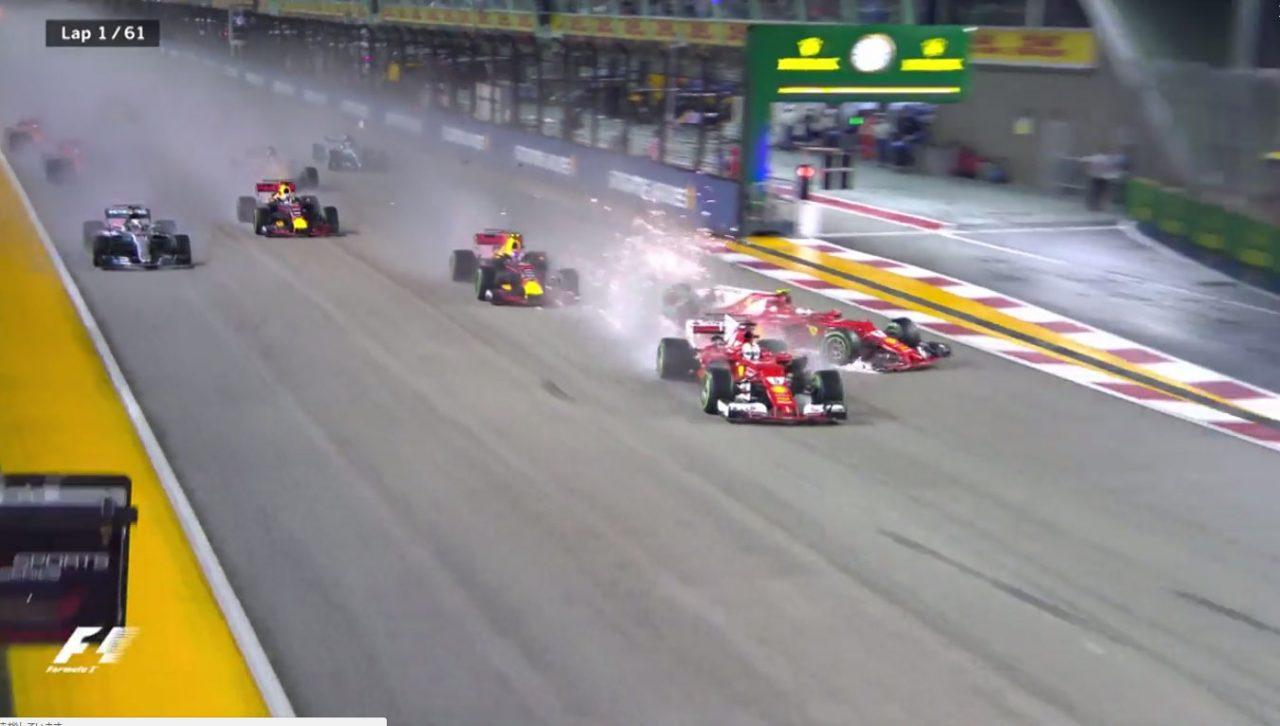 【動画】スタート直後の大波乱、フェラーリとフェルスタッペンが戦線離脱/F1シンガポールGP決勝