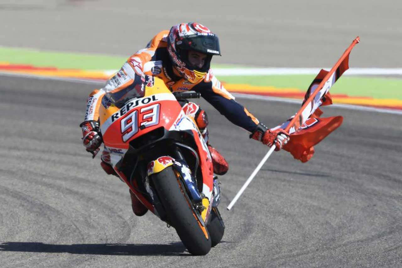 MotoGPアラゴンGP決勝:マルケスが2連勝を決めホンダがワン・ツー。表彰台をスペイン人が独占