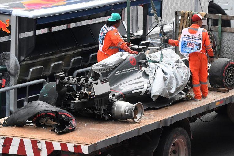 F1 | クラッシュのグロージャン、「17Gの衝撃」でマシンが大破。夜間修理の許可下りる/F1マレーシアGP