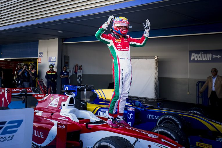 海外レース他 | F2第10戦スペイン レース1:終盤の混戦を制し優勝したルクレールがチャンピオン獲得。松下は18位