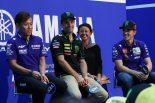 MotoGP日本GP直前ファンイベントに登場したビニャーレス(右)、ザルコ(中央)、中須賀(左)