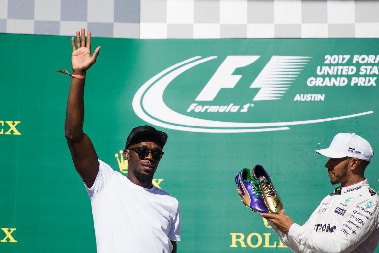 F1   SNS特集F1アメリカGP:ピンクカラーに染まった週末。ウサイン・ボルト登場でライコネンが笑顔