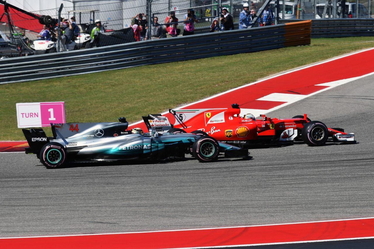 2017年F1アメリカGPでのハミルトンとベッテル