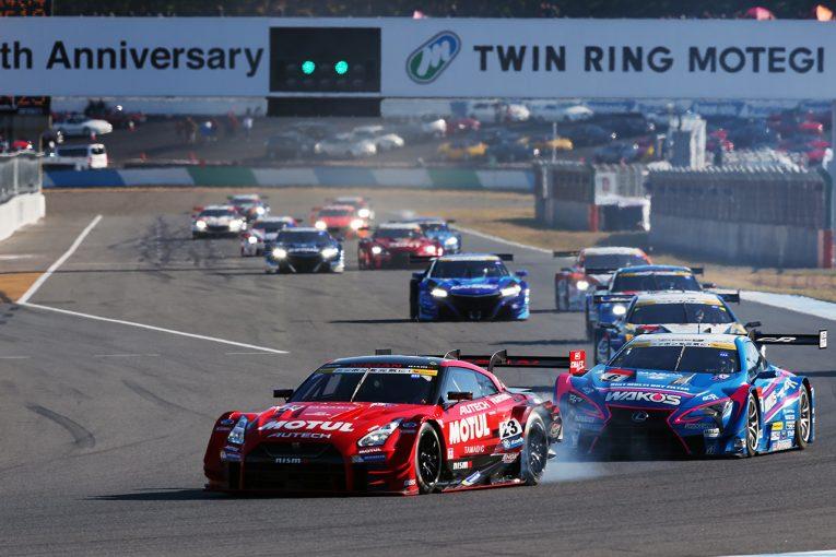 スーパーGT   タイトル候補がスタート前にまさかの接触。MOTUL GT-Rが最後に初優勝、KeePer平川&キャシディが初戴冠