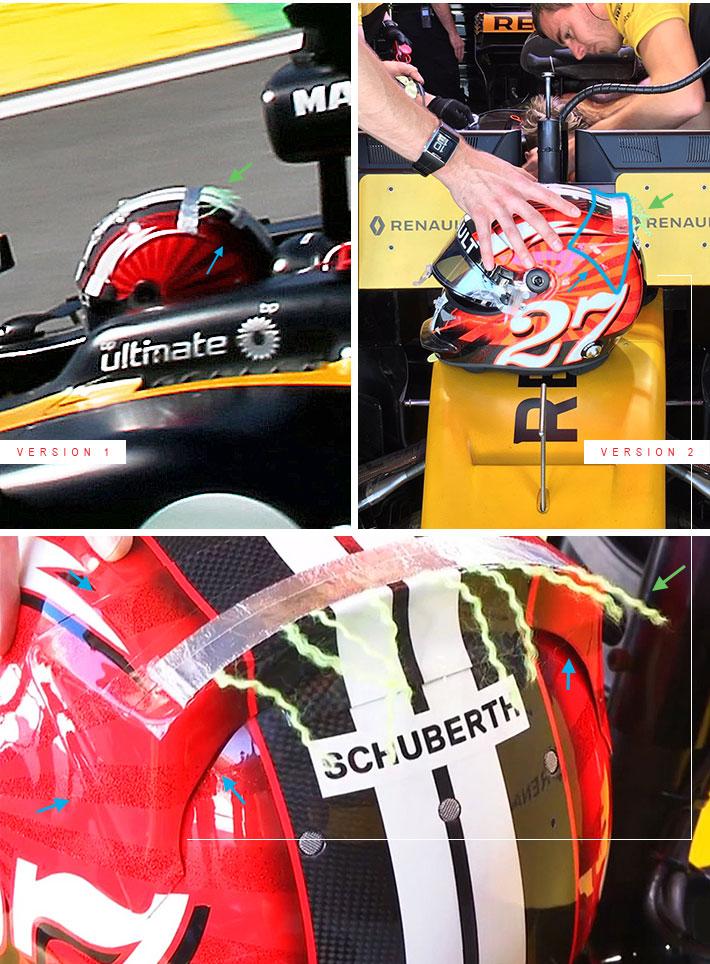 2017年F1ブラジルGP ニコ・ヒュルケンベルグのヘルメットにエアロテスト用デバイス