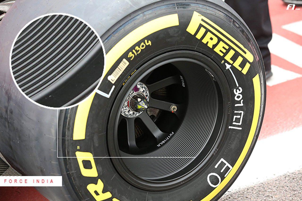 2017年F1ブラジルGP フォース・インディアのホイールに特殊なリム