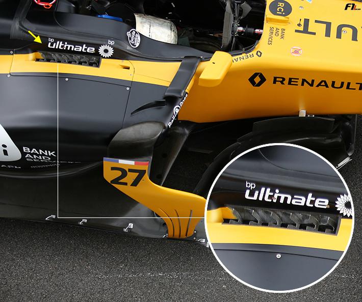 2017年F1F1ブラジルGP ルノー、サイドの冷却パーツをアップデート