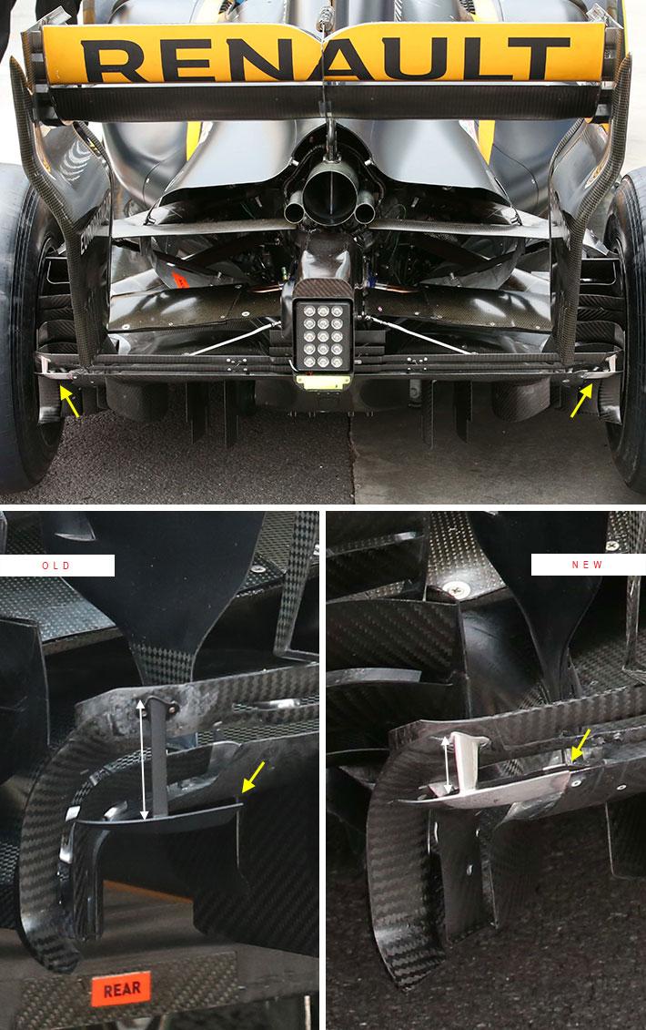 2017年F1F1ブラジルGP ルノーのディフューザーのウイングレット新旧比較