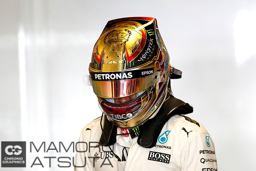 モタスポブログ | Shots!──ハミルトンは金箔の特別ヘルメットで出走!@熱田カメラマン F1アブダビGP 金曜