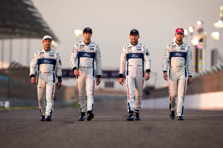 フォードGTを駆る4名のドライバー。左からアンディ・プリオール、ハリー・ティンクネル、オリビエ・プラ、ステファン・ミュッケ