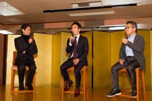 今宮純氏、松田秀士氏とのトークショーに臨んだ佐藤琢磨