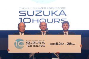 会見に登壇したモビリティランド、BSジャパン、テレビ大阪の代表取締役社長陣