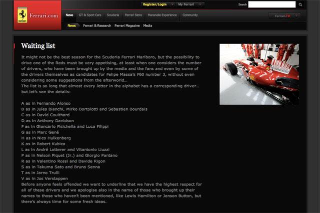 フェラーリ、『乗車待ちリスト』を公開。琢磨、ロッテラー……候補は21人?(1)