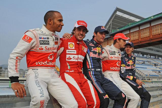 2010年韓国GP ハミルトン、アロンソ、ウエーバー、バトン、ベッテル