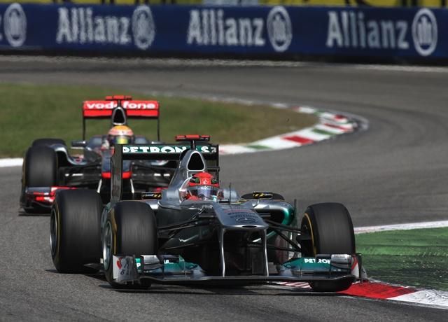 2011年イタリアGP ミハエル・シューマッハー&ルイス・ハミルトン