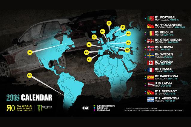 世界ラリークロス、全12戦の16年カレンダー発表(1)